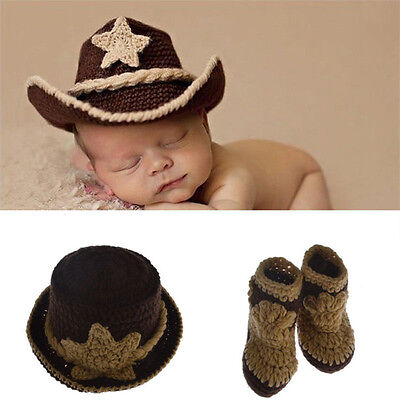 Newborn Baby Infant Photography Prop Costume Crochet Knitted Cowboy Hat Outfits
