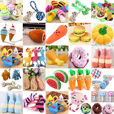 Newest Dog Puppy Pet Chew Play Squeaky Sound Plush Vegetable Chicken Carrot Toys