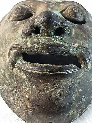 Stunning Bronze Metal Ancient Artifact Relic Mask Buddhist Asian Hindu Antique