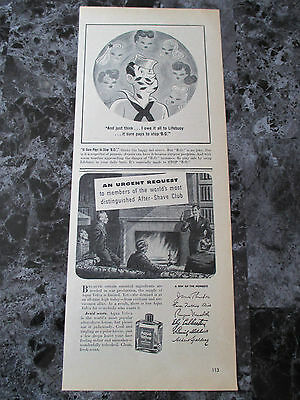 "Vintage 1944 Williams Aqua Velva After Shave Print Ad, 13.875"" X 5.5"""