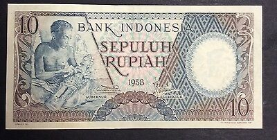 1958  10 Rupiah SBK060076 circulated condition