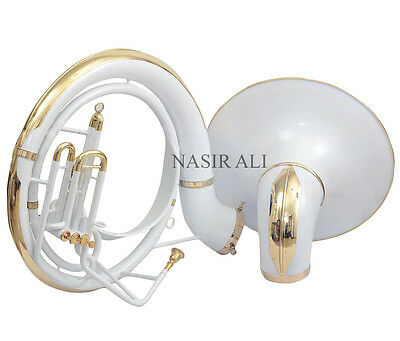 "Nasir Ali King Size Sousaphone Big Bell 25"" White Colored For Sale W/ Carry Bag"