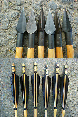 85cm Triangle Mitsubishi Turkey Feather Wooden Arrow Archery Hunting Heads 6 PCS