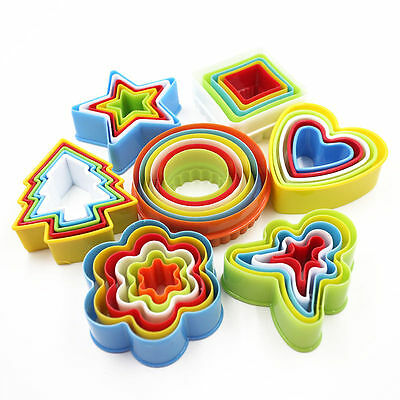 Colourful Star Frill Flower Shape Cookie Biscuit Cutter Plastic Mould Pastry Set