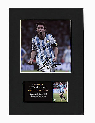 Leo Messi Argentina Barcelona Quality signed Mounted Pre-Print 12 x 8.2 A4