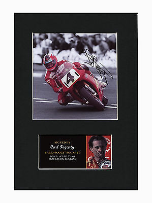 Carl Fogarty SuperBikes motorsport Quality signed Mounted Pre-Print 12 x 8.2