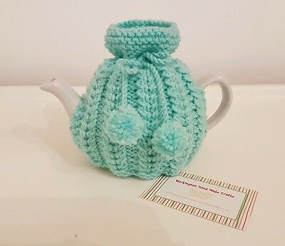 Hand Knitted 1 - 2 Cup Tea Cosy - Eau De Nil (Mint Green)