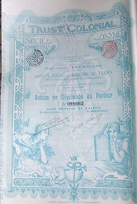 AFRICA / BELGIUM BOND TRUST COLONIAL issued in 1899 FV 100 Francs