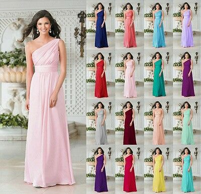 Stock New Chiffon Long Evening Formal Ball Party Prom Bridesmaid Dress Size 6-18