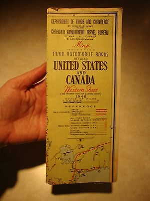 Vintage 1948 Map - Main Automobile Routes Between USA and Canada
