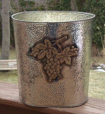 Vintage Cheinco Metal Trashcan - Hammered Silver Metal with Grapes - Made in USA