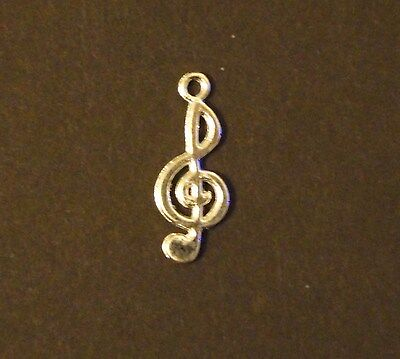 Lot Of 20 Pcs Silver Plated G Clef Music Note Pendants Charms 10x22mm