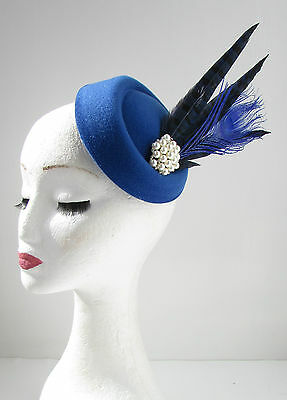 Blue & Navy Feather Pillbox Hat Fascinator Vintage 1920s Headpiece Races 40s Y18
