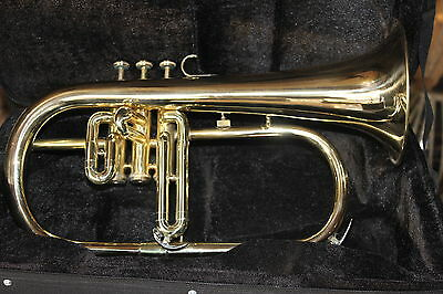 Hurry Up Flugel-Horn 3 Valve Goldern Colored Brass Finish_Bb_Pitch_W_Hardcase