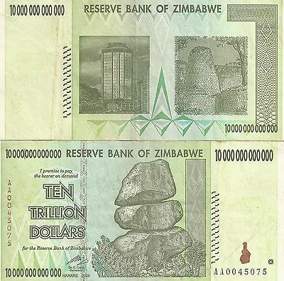 Zimbabwe 10 Trillion Dollars CIRCULATED AA/2008  / $100 Trillion Series