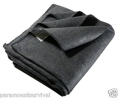 "Wool Emergency Utility Blanket Gray 51"" x 80"" 50% Wool Blend Military Style NEW"