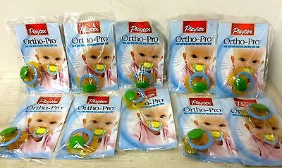 10 New Playtex Ortho-Pro Pacifiers Latex Orthodontic Shaped Nipple Newborn Up