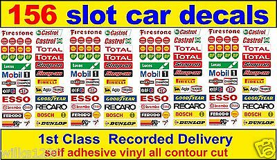 156 x Slot car / Scalextric Barrier Logo stickers adhesive vinyl Model Race Lego