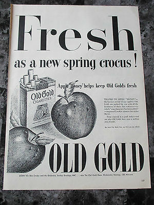 "Vintage 1944 Old Gold Cigarettes Print Ad, 14"" X 10.25"""