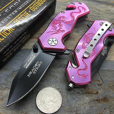 Tac Force Pink/Purple Aluminum Handle w/ Dragon Small Spring Assisted Knife