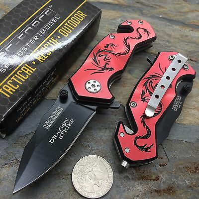 Tac Force Red Aluminum Handle w/ Black Dragon Small Spring Assisted Knife