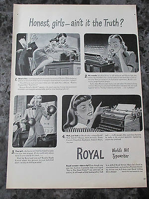 "Vintage 1944 Royal Typewriters Ft. Girls Print Ad, 13.875"" X 9.875"""