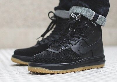 a1e3d9dcfbd5fc NIKE LUNAR FORCE One 1 Sneakerboot Duckboot Blk w  Gum Bottom Wheat ...