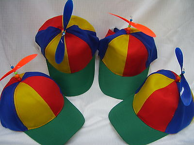 Propeller Hat Helicopter Rainbow Cap Costume Accessory Clown Jester Tweedle Dee