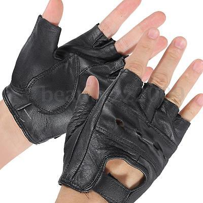 Leather Bike Cycling Motorcycle Racing Fitness Sports Gloves Fingerless Black M