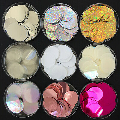 1000 x Large Round Disc Sequins/Paillettes. 24mm - 16 colours available.