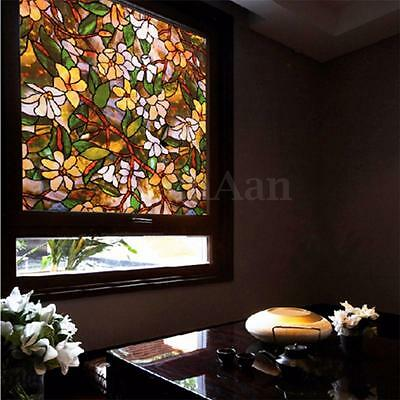 Magnolia Flowers Static Cling Stained Glass Window Film For Home Privacy DIY