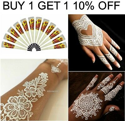 100% Pure White Instant Henna Mehandi Tattoo  Bridal Gel Cones - Best Quality Uk