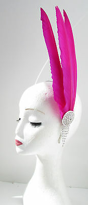 Hot Pink Silver Long Feather Headpiece Fascinator Headband Vintage 1920s 30s Y27