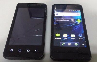 Lot of 2 LG G2X P999 8GB Black (T-Mobile) Fair Condition Cracked Glass and LCD