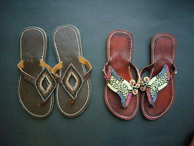 New African Ethnic Kenyan Leather Tribal Masai Bead Flip-Flop Sandals Shoes 6 38 • EUR 27,44