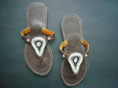 New African Kenyan Leather Tribal Masai Bead Flip-Flop Sandals Shoes 6.5 or 39