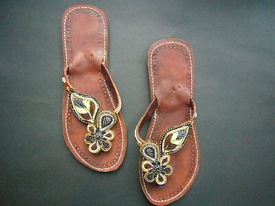 New African Kenyan Leather Tribal Masai Bead Flip-Flop Sandals Shoes 7.5 or 41