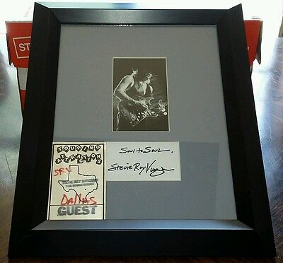 """Vintage Stevie Ray Vaughan Autographed Picture & Guest Pass 14.5""""x18"""" w/ COA"""