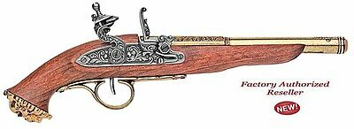 Authentic 1700 Brass Finish Pirate Flintlock Pistol Pirate Skull Non-Firing Gun