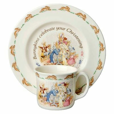 NEW Bunnykins by Royal Doulton Christening 2-Piece Baby Set (Plate and Mug)
