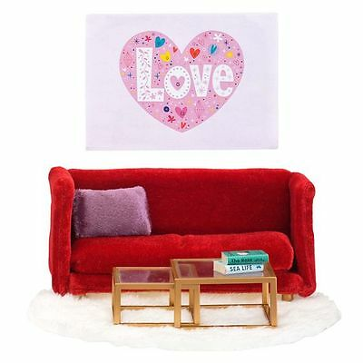 NEW Lundby Smaland Doll's House Red Living Room Furniture & Artwork Set