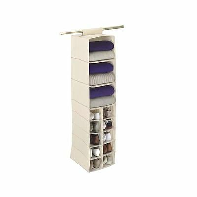 NEW Household Essentials 10-Pocket Shoe & 3-Shelf Sweater Organiser White