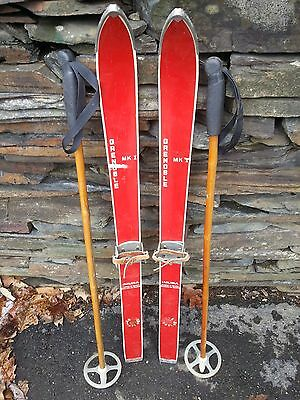 """INTERESTING OLD RED Skis 41"""" Long with Metal Bindings with Bamboo Poles"""