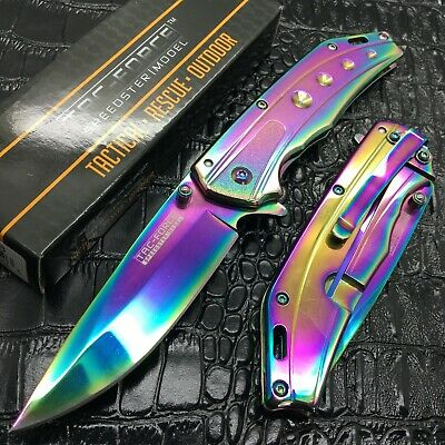 Tac Force All Rainbow Tactical Spring Assisted Small Gentlemen Pocket Knife