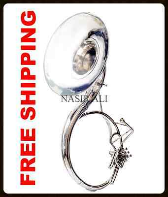 """Full Size Susaphone Nickel Plated Tuba 25"""" W/carry Bag+Mp+Fast Shipping"""