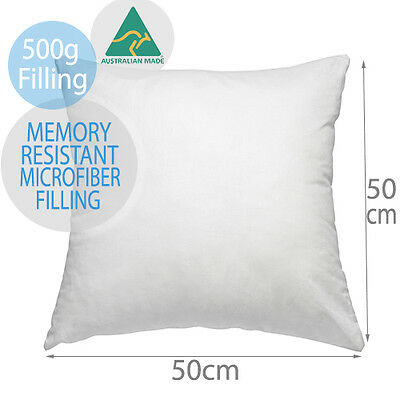 Aus Made New Cushion Inserts Premium Memory Resistant Polyester Fibre 50x50CM