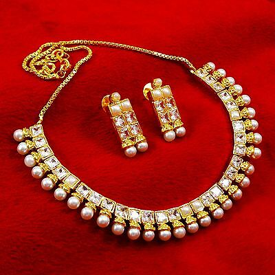 New Gold Plated Traditional Kundan Necklace Earrings Jewelry Set Indian Women