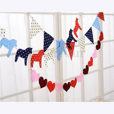 Horse/Heart/Triangle Bunting Banner Flag Fabric Baby Shower Wedding Party Decor