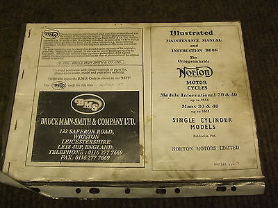 Norton International Parts Book Reproduction Used