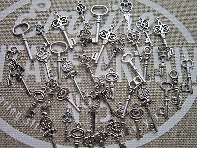 42 antiqued silver tone skeleton keys wedding vintage style  pendants charms mix
